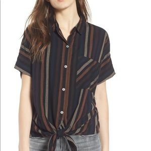 O'Neill Striped Front Tie Top